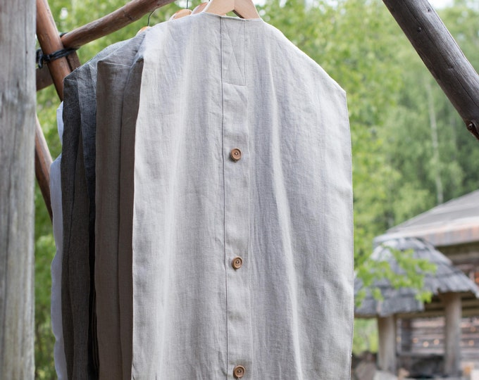 Featured listing image: LINEN GARMENT BAG.  Nature-friendly garment bag with wooden buttons or zipper. Use in a wardrobe, dressing room, for transportation.