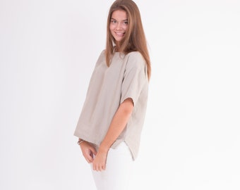 LINEN Blouse Warm Sand color Short Sleeve blouse from light weight stone washed fabric