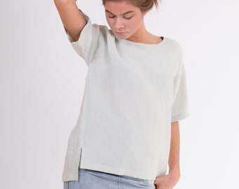 LINEN Blouse light green Short Sleeve blouse from light weight stone washed fabric