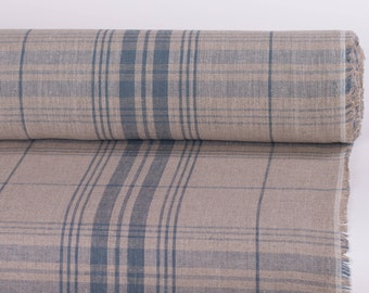 "PURE LINEN FABRIC Width 72.4"" Heavy Natural linen and steel blue striped checkered linen fabric Organic Rustic fabric linen fabric"