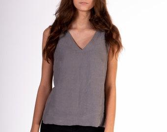 Linen Blouse, Linen top, White linen Blouse for women, V-neck sleeveless blouse, linen tops for women