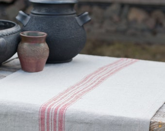 Linen table runner, Rustic runner made from organic, heavy weight, stone washed pure line fabric.