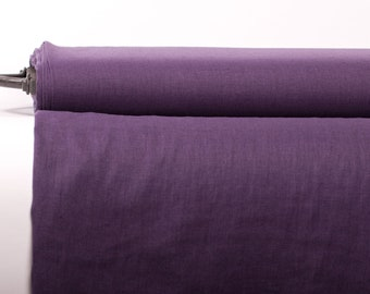 Pure 100% Linen Fabric Purple Medium Weight Pre-Washed Textile Durable Plain Woven Solid Not Transparent Organic For Outfit Drape Tablecloth