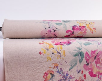 Pure 100% Linen Fabric WATERCOLOR ROSE NATURAL Digital Printed Medium Weight Pre-Washed Durable Organic  Code M2-0156-0103