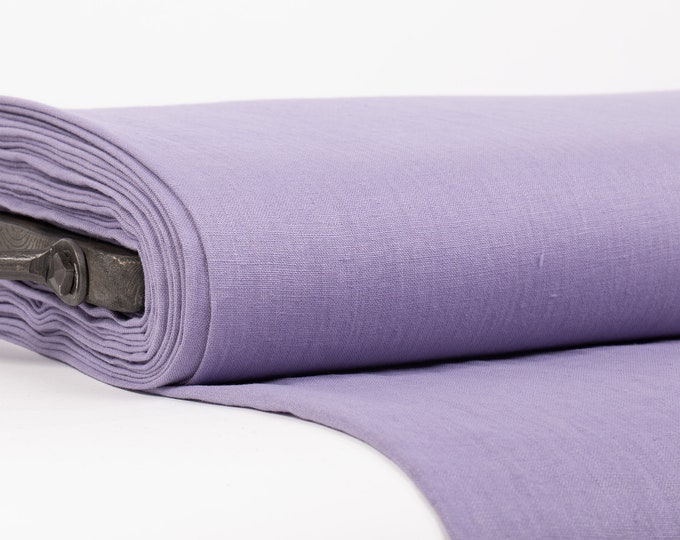 Featured listing image: Pure Linen Fabric Lavender Medium Weight Pre-Washed Textile Durable Plain Woven Solid Not Transparent Organic For Outfit Drape Tablecloth