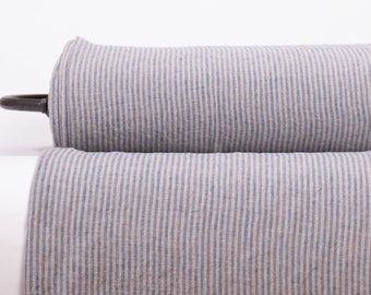 Pure 100% linen fabric  200gsm Natural linen color (not dyed) and blue striped linen fabric Organic Softened