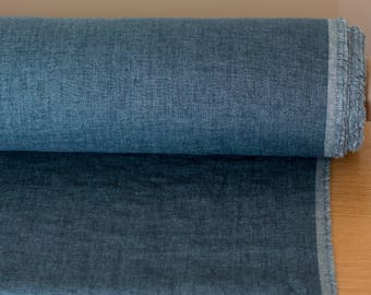 LINEN FABRIC 200GSM  Medium weigh Melange Teal blue and Blue 100% pure linen fabric by meter washed an softened  Organic Linen Cloth