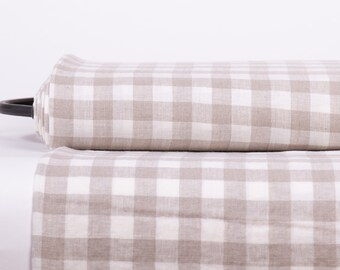 Pure 100% Linen fabric  200gsm Gingham check White and Not-dyed, Pre-washed, Natural fabric for clothing, home textile, table ware