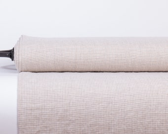 Pure 100% linen fabric 170gsm  small off white and light gray checked.  For  clothes,  tableware, curtains, kitchenware