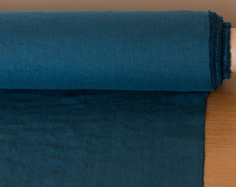 Pure 100% linen fabric teal blue, medium weight, wash and soften with organic softeners. In rolls. Cuts from 0.5 yard.