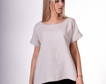 Pure 100% linen blouses. Light silver color. Drop Shoulder Linen Blouses. The top part -  tie closure at the back.