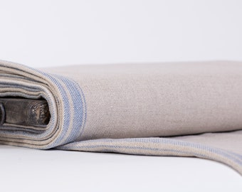 Pure 100% linen fabric, linen fabric heavy weight, linen canvas gray with blue strips Organic Softened Rustic fabric Thick linen fabric