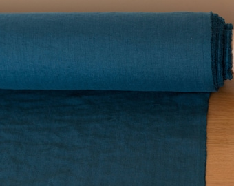 Linen fabric 200gsm Teal blue color,  Medium weight soft pure 100%  linen fabric for dresses, jackets, table linen, curtains.