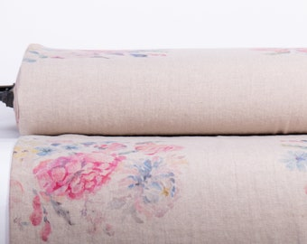 Pure 100% linen fabric digitally printed. PROVENSE base Not-dyed medium weight, washed, softened linen fabric Code MP 505 - 01