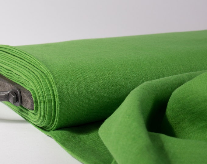 Featured listing image: Pure 100% linen fabric 200gsm green, medium weight, wash and soften with organic softeners. Used for clothing, bedding, tablecloth, etc