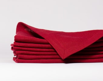 Linen napkins with Mitered Hem SET 4, 6, 8, 12 Berry red and more others colors,  Pre-washed 100% linen napkins, Handmade pure line napkins