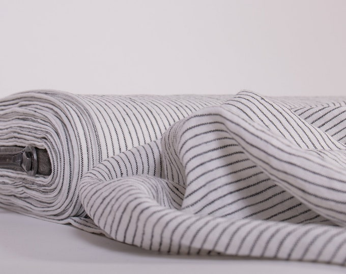 Featured listing image: Pure 100% linen fabric, White-and-black striped. Fabric pre-washed, Organic fabric for making clothing, table top, bed linen, curtains