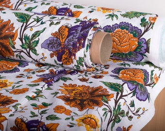 LINEN FABRIC 205gsm Bright summer flowers linen  fabric Pure 100% Linen softened and washed Fabric