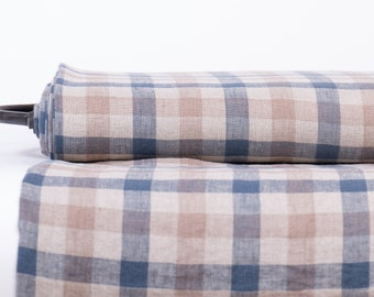 Pure 100% linen fabric 200gsm Not- dyed, brown, denim blue Gingham check.  Washed linen fabric for dress, jackets, interior decorations