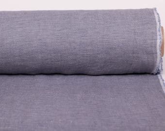 100 % LINEN FABRIC 210gsm Chambray, Honeycomb Pattern Fabric  Gray, blue, white linen fabric Pure Linen softened and washed fabric