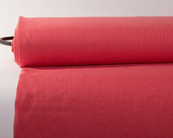 Pure 100% Linen Fabric Coral Pink Medium Weight Pre-Washed Durable Dense Plain Solid Organic Textile Drape For Sewing Table Cloth By Yard