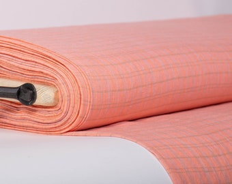 Pure 100% linen fabric 200gsm the salmon pink base with olive green and light blue checks For sewing clothing, bedding, curtains, baby linen