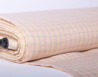 Pure 100% linen fabric 200gsm the yellow base with green and light pink checks For sewing clothing, bedding, curtains, baby linen