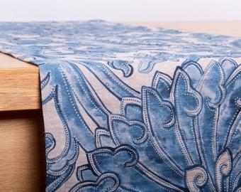 Linen Table Runner Digital Printed LE BIJOU, Custom Size Wedding Runner, Handmade Table Runner Washed Soft Mitered Corner, Table Decoration