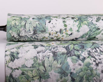 Pure 100% Linen Fabric SPRING MEADOWS Digital Printed Medium Weight Washed Softened Not-Translucent Durable Organic Breathable M2-0209-0150