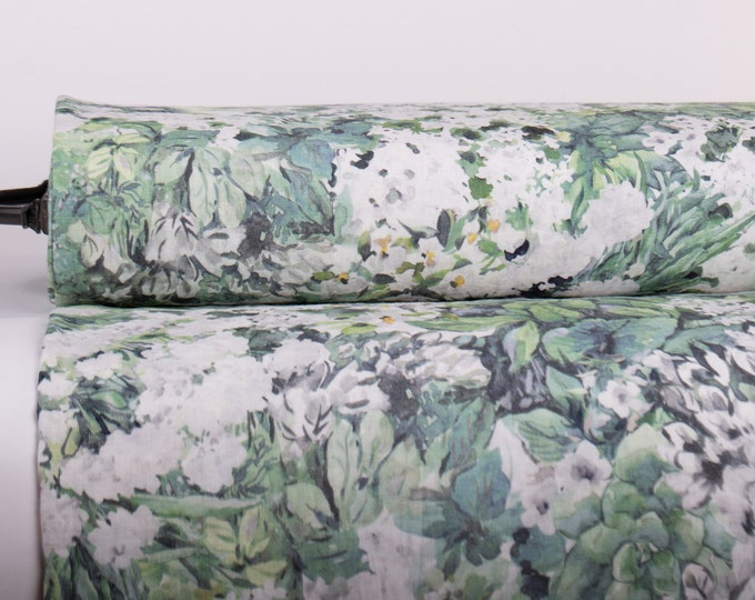 Featured listing image: Pure 100% Linen Fabric SPRING MEADOWS Digitally Printed Medium Weight Washed Not-Translucent Durable Organic Breathable M2-0209-0150