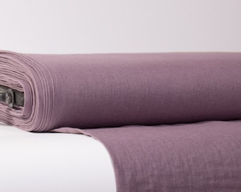 Pure 100% Linen Fabric Dirty Purple Medium Weight Pre-Washed Durable Dense Plain Solid Organic Textile Drape For Sewing Table Cloth By Yard