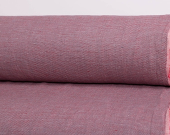 100 % LINEN FABRIC 210gsm Chambray Honeycomb Pattern Fabric  Red, gray, white linen fabric Pure Linen softened and washed fabric