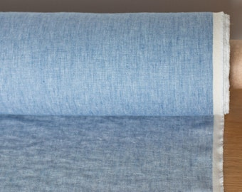 LINEN FABRIC 230GSM Chambray Light blue and off-white Medium/Heavyweight 100% pure linen fabric by meter washed an softened
