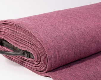 Extra Wide 2.35 m / 2.56 yd pure 100% Linen Fabric Pink -Black Chambray.  Medium weight, washed softened linen fabric for curtains, clothing