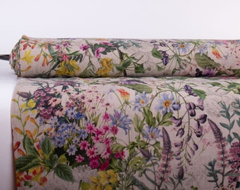 Pure 100% Linen Fabric SUMMER FLORAL Digital Printed Base Not-dyed Medium Weight Washed Durable Organic Breathable M2-0210-0195