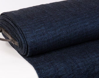 Fabric Extra Wide 2.56 yd / 2.35 m Pure Linen Double Side Dark blue/ blue Preshrunk for Blankets Bed Cover Overcoat