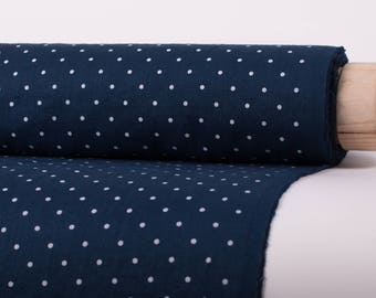 Pure 100% linen fabric 200gsm blue in a white dots pattern, medium weight, wash and soften with organic softeners. For clothing sew