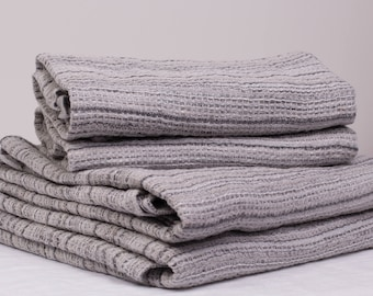 Pure 100% LINEN TOWELS Grey striped  Washed Top Quality linen towels  highly absorbent