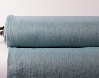 Pure 100% Linen Fabric Blue Green Herringbone Medium Weight Pre-Washed Durable Dense Organic Textile Drape For Sewing Table Cloth By Yard