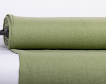 Pure 100% Linen Fabric Fear Green Medium Weight Pre-Washed Durable Dense Plain Solid Organic Textile Drape For Sewing Table Cloth By Yard