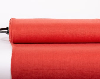 Pure 100% Linen Fabric Brick Red Medium Weight Pre-Washed Durable Dense Plain Solid Organic Textile Drape For Sewing Table Cloth By Yard