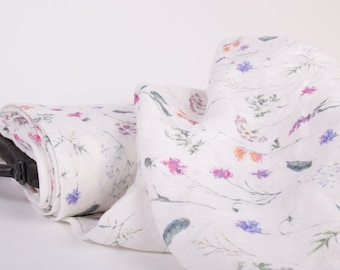 Pure 100% linen fabric. Digital print Summer meadow flowers M2-0169-0100 Floral printed pure linen fabric medium weight, washed, for dress