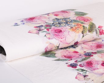 Pure 100% linen fabric. Exclusive print Roses, Edelweiss, Berries, Design: M2-0164-0100 medium weight, washed and softened linen fabric.