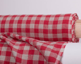 Linen fabric 200gsm medium weight, Pure 100% Red and not- dyed Gingham check, washed and softened,