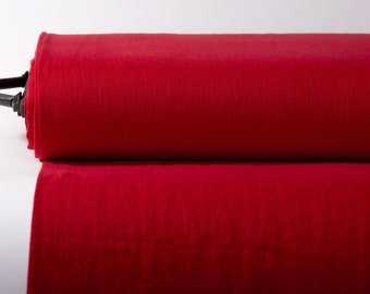 Pure 100% Linen Fabric Red Medium Weight Pre-Washed Durable Dense Plain Solid Organic Textile Drape For Sewing Table Cloth By Yard