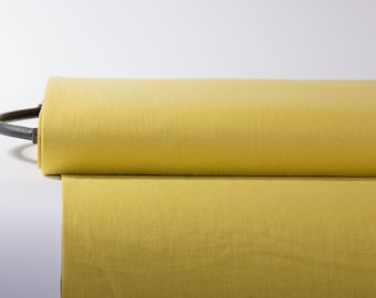 Pure 100% Linen Fabric Dandelion Yellow Medium Weight Pre-Washed Durable Dense Plain Solid Organic Textile Drape For Sewing Table Cloth