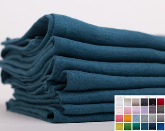 LINEN NAPKINS  SET 6 Teal blue Washed 100% linen napkins