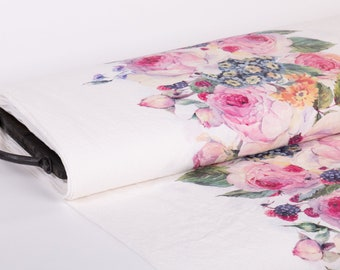 Pure 100% linen fabric. Exclusive print Roses, Edelweiss, Berries, 170gsm  medium weight, washed and softened linen fabric.