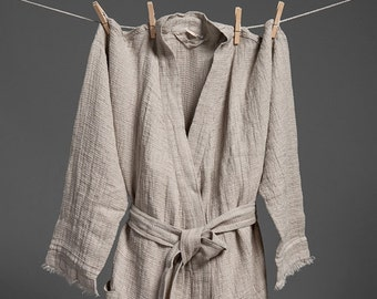 Linen WOMEN'S bathrobe, grey linen bathrobe, high quality soft linen robe, ROBE LinenBuy