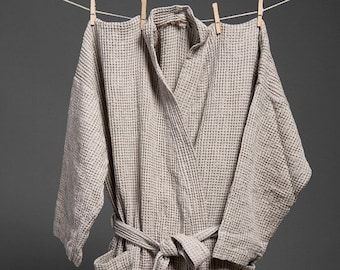 Linen MEN*s Bathrobe,ROBE  Grey linen / cotton men's bathrobe, high quality soft linen robe, LinenBuy